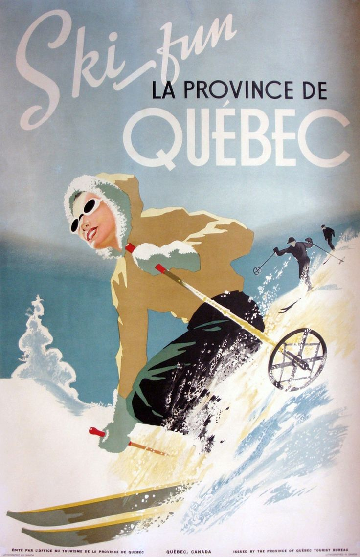 A great ski themed winter travel poster for Quebec, Canada, 1944. #vintage #winter #sports #skiing #Canada