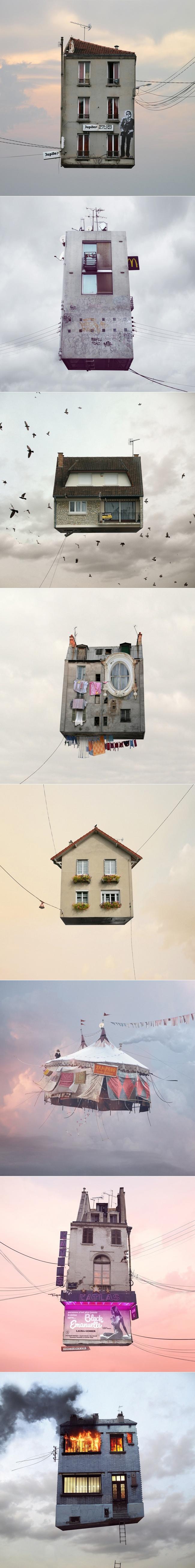 """Flying Houses"" - Fotoprojekt von Laurent Chehere"