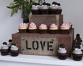Burlap and Reclaimed Wood 2 Tier Cake Stand, via Etsy. LOVE IT!