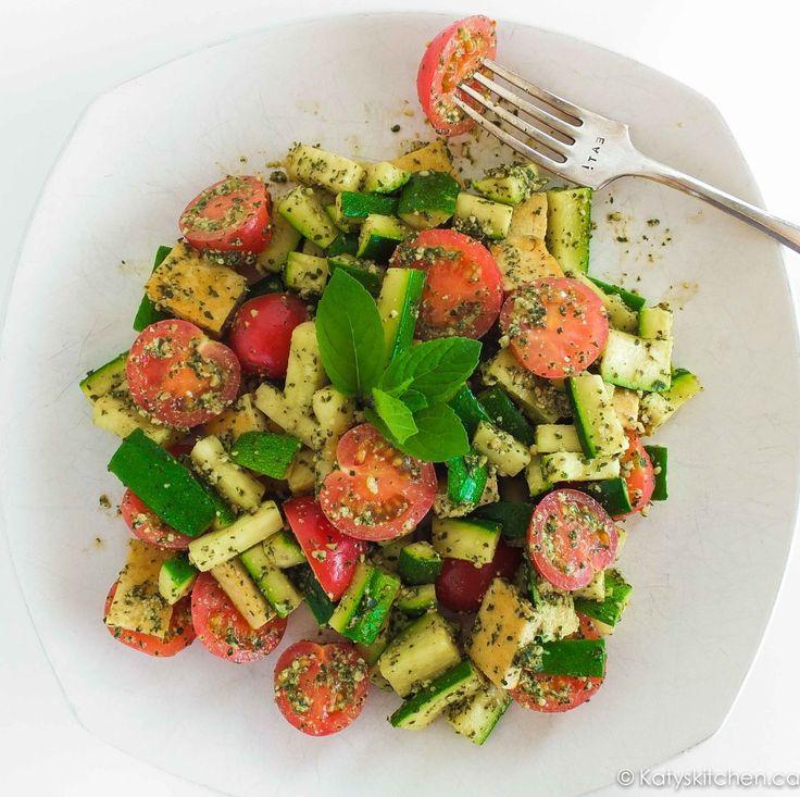 Zucchini Penne Pesto Plate by Katys Kitchen #vegan #glutenfree