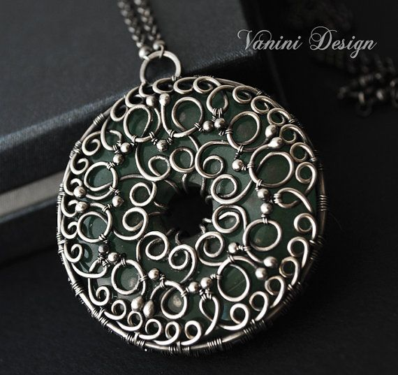 Secret Treasure - Fine/sterling Silver and green aventurine medallion pendant necklace