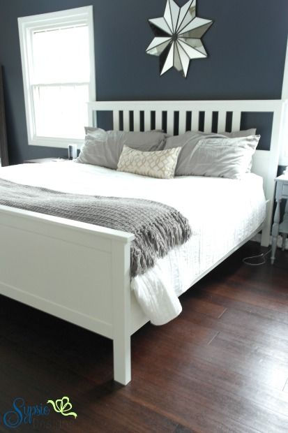 Hale Navy accent wall in our master bedroom - Sypsie Designs
