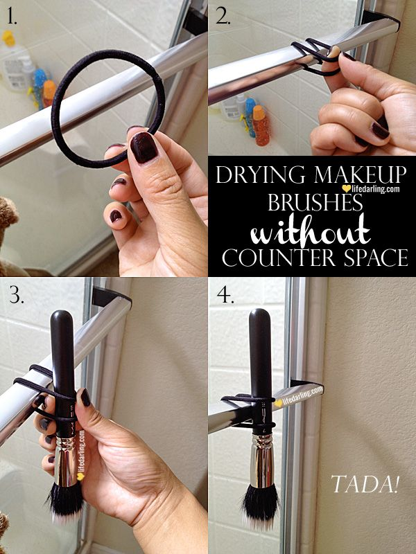 Drying Makeup Brushes Without Counter Space by LifeDarling.com
