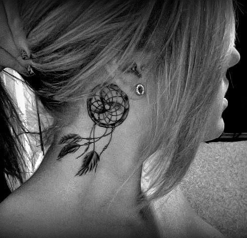 Inviting Dream Catcher Neck Tattoo for Female | Tattoomagz.com › Tattoo Designs