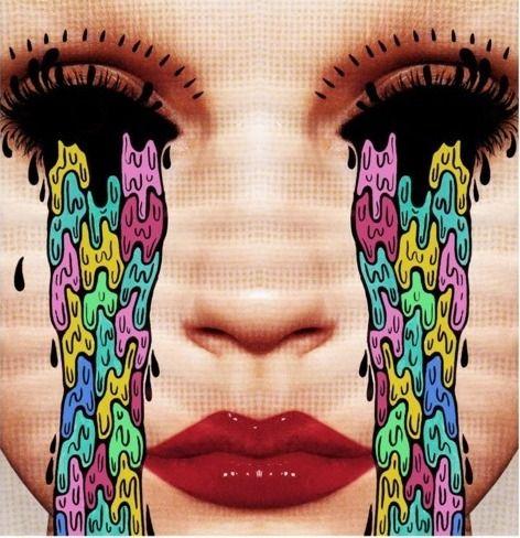 Collage de la ilustradora Hattie Stewart # lágrimas color collage retrato foto…