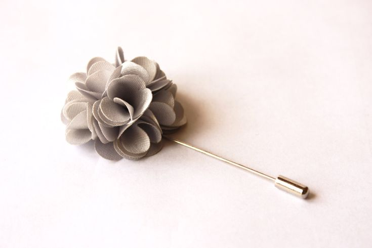 Lapel Pin - boutonniere - Flower - Silver Grey Satin - men flower lapel pin, Dapper Men, Dandy, Wedding Groom by TheGreyDeer on Etsy