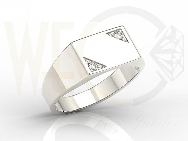 Sygnet z białego złota z diamentami/ Signet made from white gold with diamonds/ 2 305 PLN  #man #jewellery #signet_ring #whitegold #diamonds