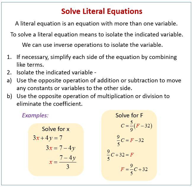 Solving Literal Equations Worksheet In 2020 Literal Equations Equations Worksheets