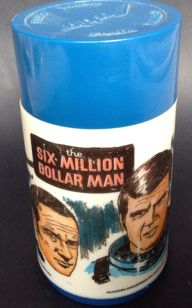 Vintage Six Million Dollar Man Steve Austin 1974 Aladdin Thermos Flask Blue in Collectables, Homeware, Kitchenware, Other Home, Kitchen | eBay!