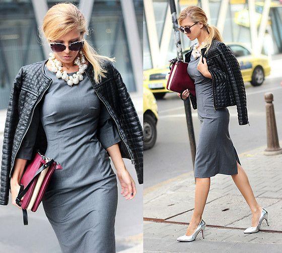 Choies Necklace, Credo Dress, Choies Silver Metallic High Heels Shoes, Zara Clutch, Zara Sunglasses