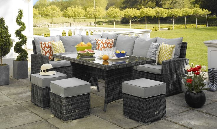 Mauritius - Corner Sofa Dining Table - Grey Rattan Garden Set - All Garden Furniture - Fishpools