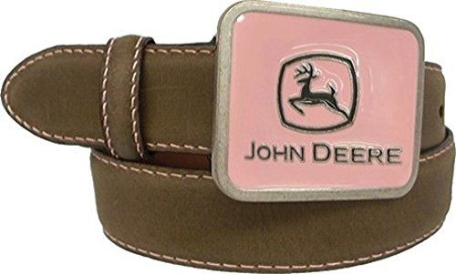 John Deere Girls Brown Crazyhorse Belt with Pink Belt Buckle (Small) Made by #John Deere Color #Crazy Horse Tan. John Deere pink enamel buckle with a silver finish. 32mm belt is made from buffalo crazyhorse leather. Cut edge with pink stitching