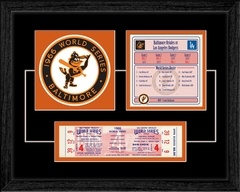 "1966 World Series Replica Ticket & Patch Frame Baltimore Orioles - This item features a commemorative patch and Game 4 replica ticket as well as a World Series summary including scores from all games and the Orioles 1966 World Series roster. It comes double matted in team colors and professionally framed. Overall size: 14""(W) x 11""(H). www.thatsmyticket.com"