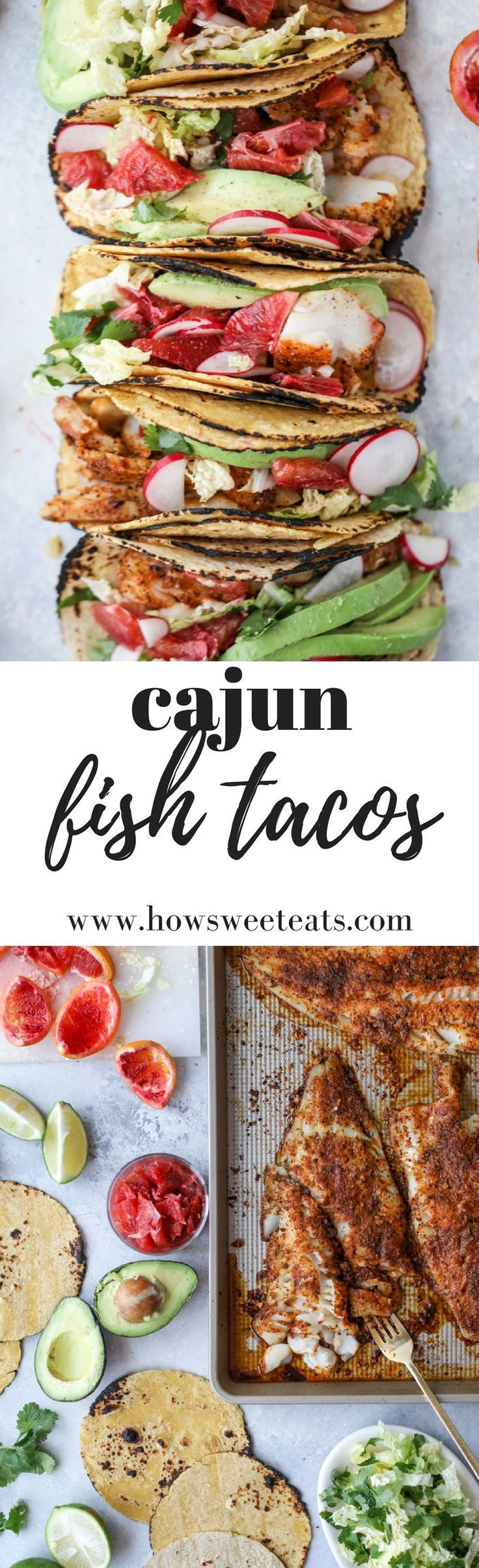 Easy Cajun Fish Tacos I www.howsweeteats.com #fishtacos #cajun #fish #healthy #recipes #tacos