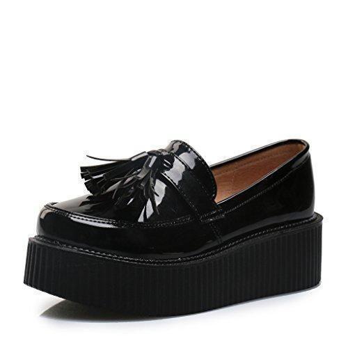 Oferta: 32.99€ Dto: -50%. Comprar Ofertas de RoseG Mujer Zapatos Creepers Sin Cordones Plataforma Negro Size38 barato. ¡Mira las ofertas!