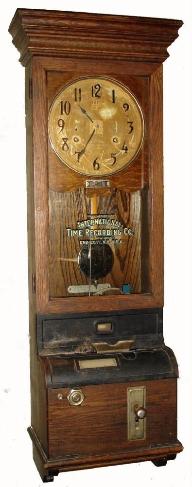 Clocks have had many secondary functions through history. This one was used to punch time cards. Not only will it tell time, but it can remind us of all the people who once worked so hard. Perhaps we will be thankful that we don't need to punch in every time we walk past it.