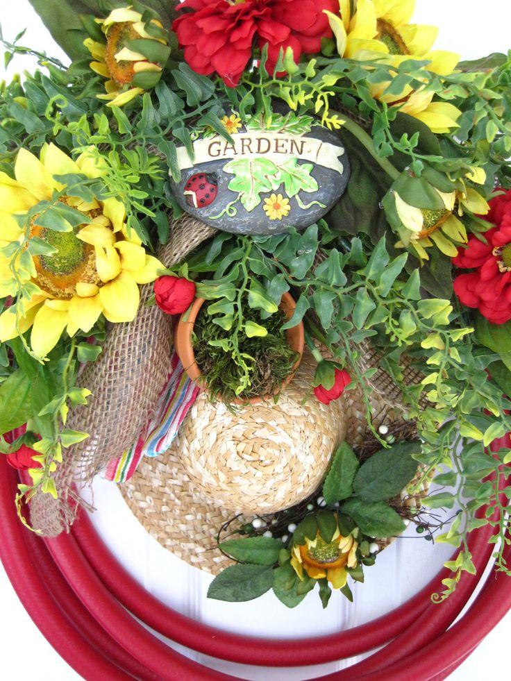 RED GARDEN HOSE Wreath Sunflowers Straw Hat Gloves Terra