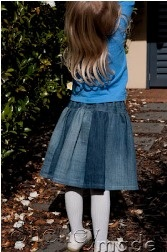 Tutorial: Recycle your old jeans into a little girl's twirly skirt · Sewing | CraftGossip.com It is for girs but I want one to....