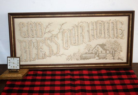 Vintage White Candlewick Embroidery God Bless Our Home Framed ...