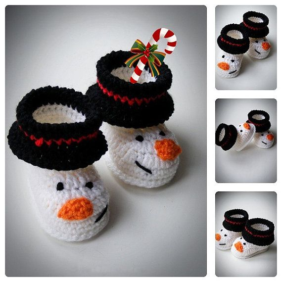 Crochet Snowman Baby Booties, Christmas Baby Shoes, Newborn and Infant Booties, Funny Boots for babies, Baby shower gift, choose size