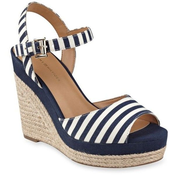 Tommy Hilfiger Dark Blue Stripe Kali Espadrille Wedge Sandal - Women's ($79) ❤ liked on Polyvore featuring shoes, sandals, dark blue stripe, sparkly shoes, metallic espadrilles, striped espadrilles, wedge shoes and metallic wedge sandals