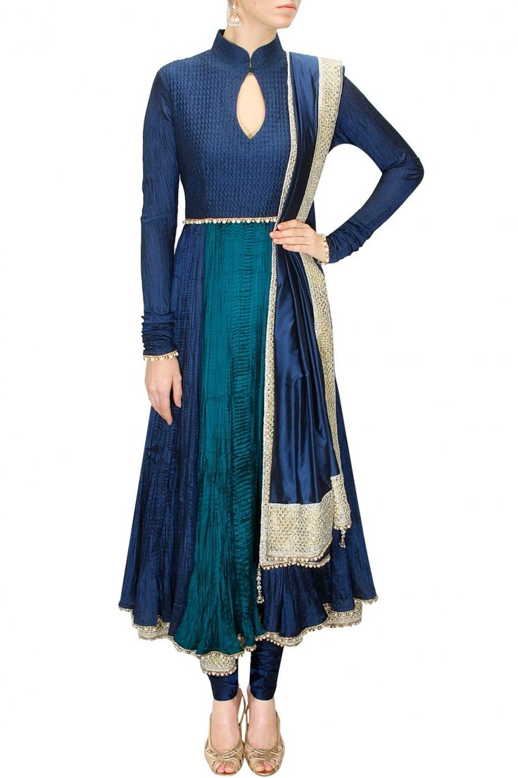 Blue and green emebellished crushed anarkali set by Shehla Khan.