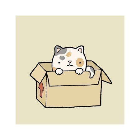 Cat in a box illustration