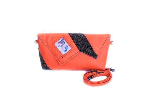 50% off Orange clutch bag Credit card bag Orange and by meerrorart