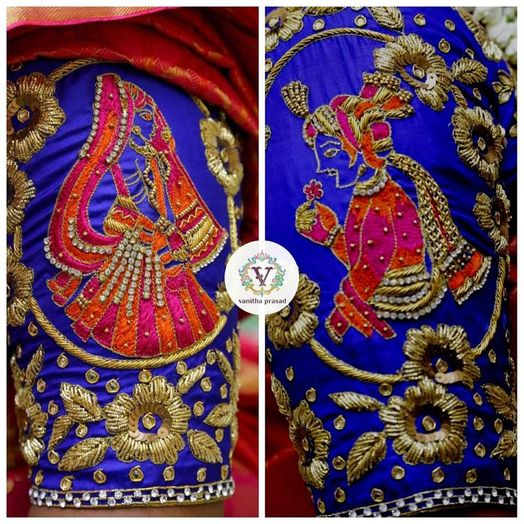 Beautiful designer blouse with bride and brdie groom design hand embroidery work on sleeves. 24 June 2017