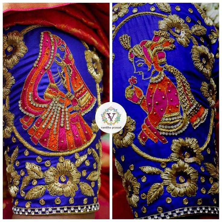 Beautiful designer blouse with bride and brdie groom design hand embroidery work on sleeves. 24 June 2017