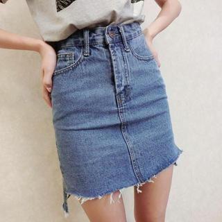 Fray-Hem Washed Denim Skirt from #YesStyle
