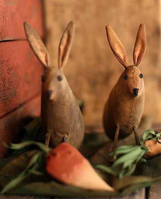 Primitive Bunnies in a Vegetable Garden