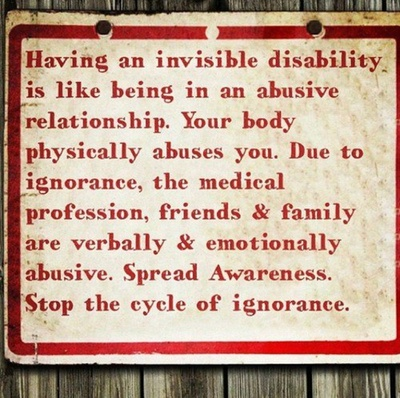 Chronic Illness. Having an invisible disability is like being in an abusive relationship. Your body physically abuses you. Due to ignorance, the medical profession, friends & family are verbally & emotionally abusive. Spread Awareness. Stop the cycle of ignorance.