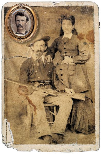 Charlie Bowdre rode with Billy the Kid and cowboyed around the Fort Sumner, NM area. He ended up dead at Stinking Springs when a sheriff posse shot him. They found this photo in his clothing; the blood stains are Bowdre's.