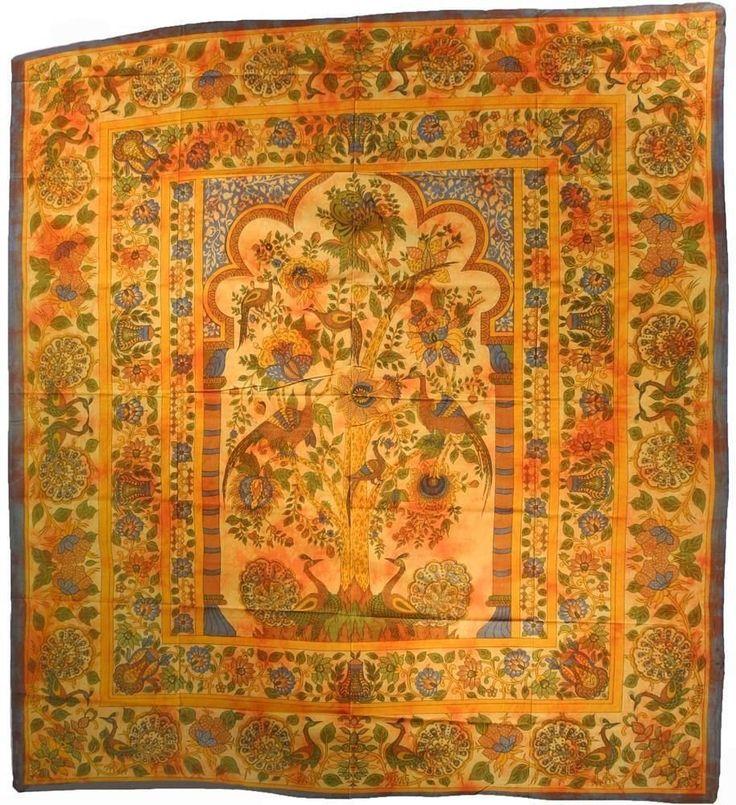 Tagesdecke Lebensbaum Wandbehang Couch Überwurf Tuch Decke Bettüberwürfe Wanddeko Wandtuch Vorhang Tischtuch Indien Orange 231: Amazon.de: Küche & Haushalt