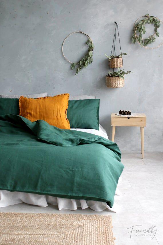 Farmhouse Linen Bedding Green Linen Duvet Cover Forest Green Etsy Green Bedroom Decor Green Bedding Green Rooms