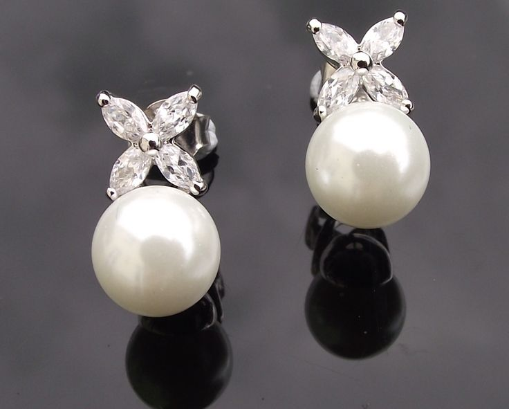 Petal Style Crystal & Pearl Wedding Earrings, Liliane | The Wedding Hair Accessory and Bridal Jewellery Experts.