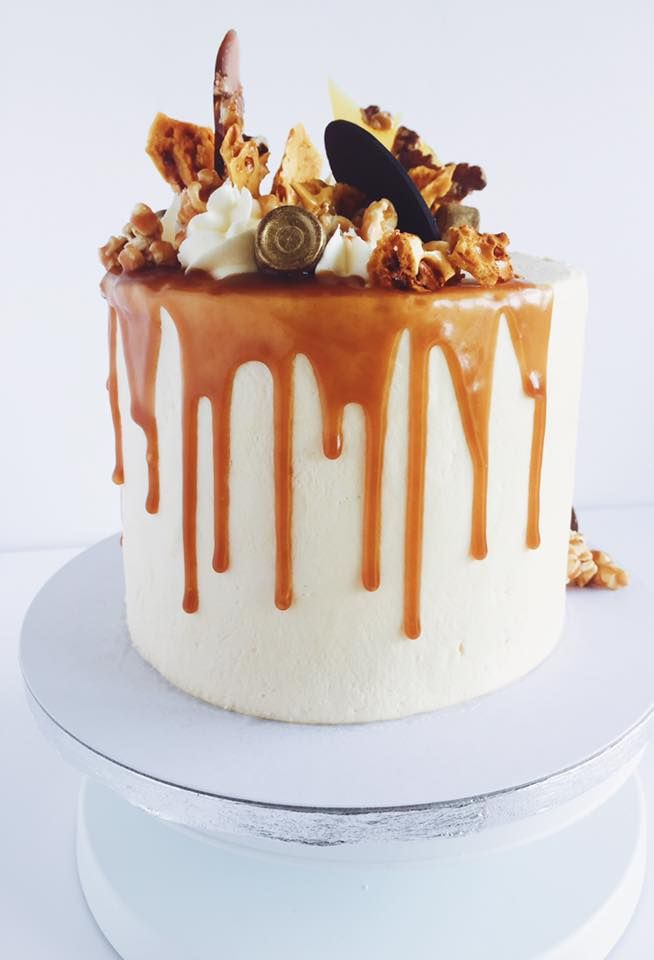 Ultimate Caramel Drip Cake // Back shot of our Jack Daniels 18th Birthday Cake with Cinder Toffee, Walnut Sugar Shards & Toffee Popcorn