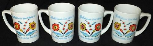 Set of 4 Vintage Berggren Swedish Rosemaling Folk Art Scandinavian Mugs Cups   eBay