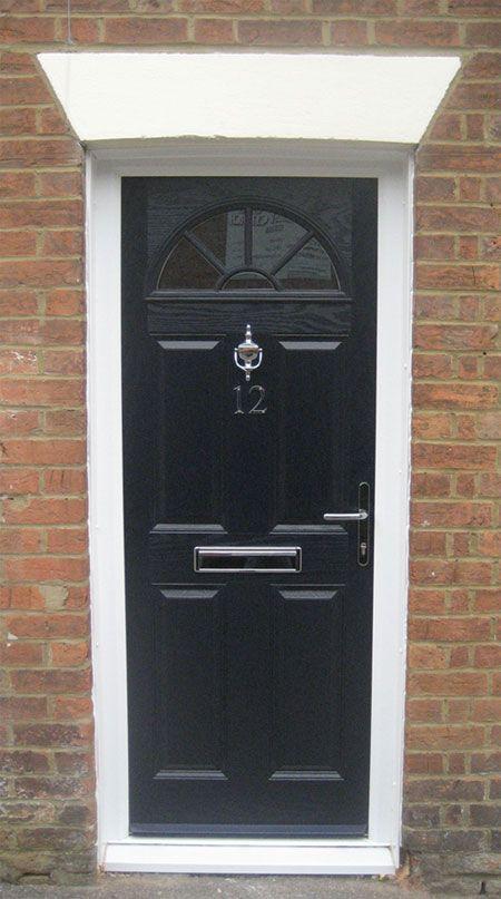 4 Panel Sunburst Composite Front Door in Black