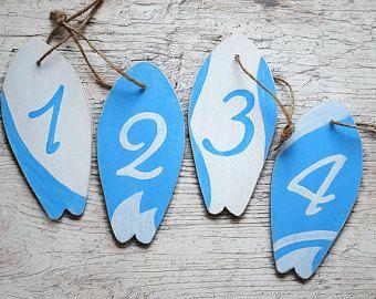 Etiquetas madera señales náuticas Surf board tabla números