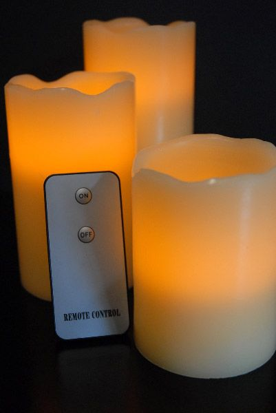 Remote controlled LED candles. Perfect for a high shelf or even for hanging lanterns. Definitely want.