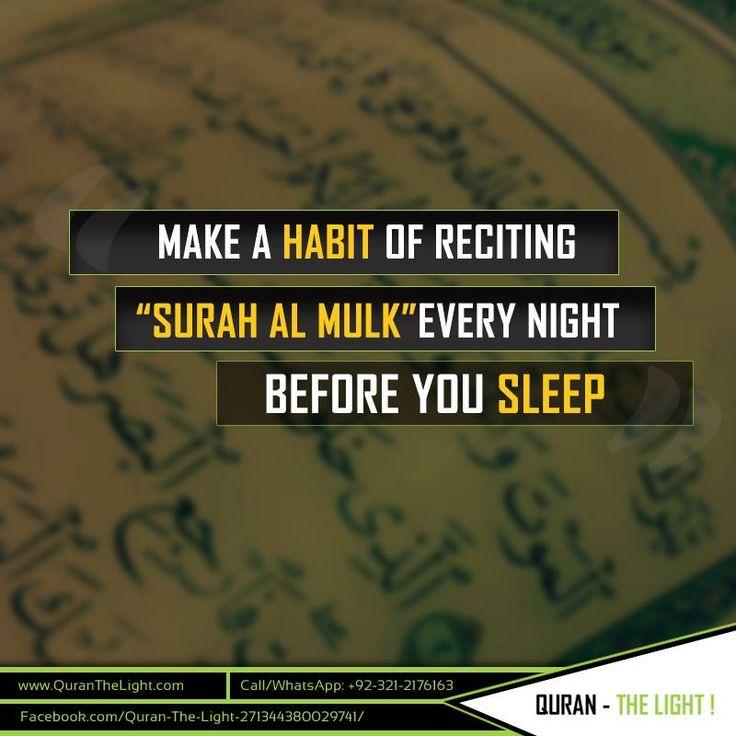 "Recite ""Surah Al Mulk"" every night and Allah will protect you from the torment of the grave. #Muslim #Muslimsayings #Muslimquotes #Allah #Islam #Islamicsayings #guidance #Quran #Quranverses #paradise #praying"
