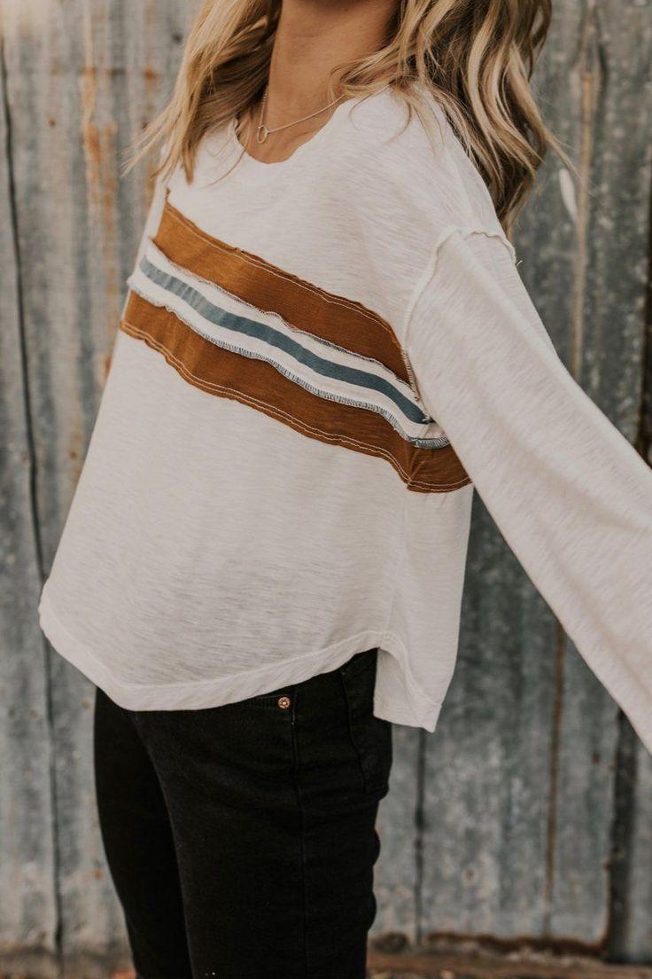 Herbst-Outfit-Ideen für Frauen - Langarm-T-Shirts für Frauen - White Stripe Tees ...