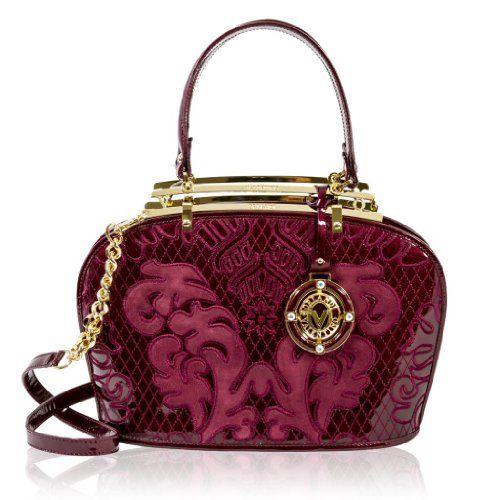 #Valentino #Orlandi Designer Gilded Burgundy Embroidered Leather Satchel #Bag