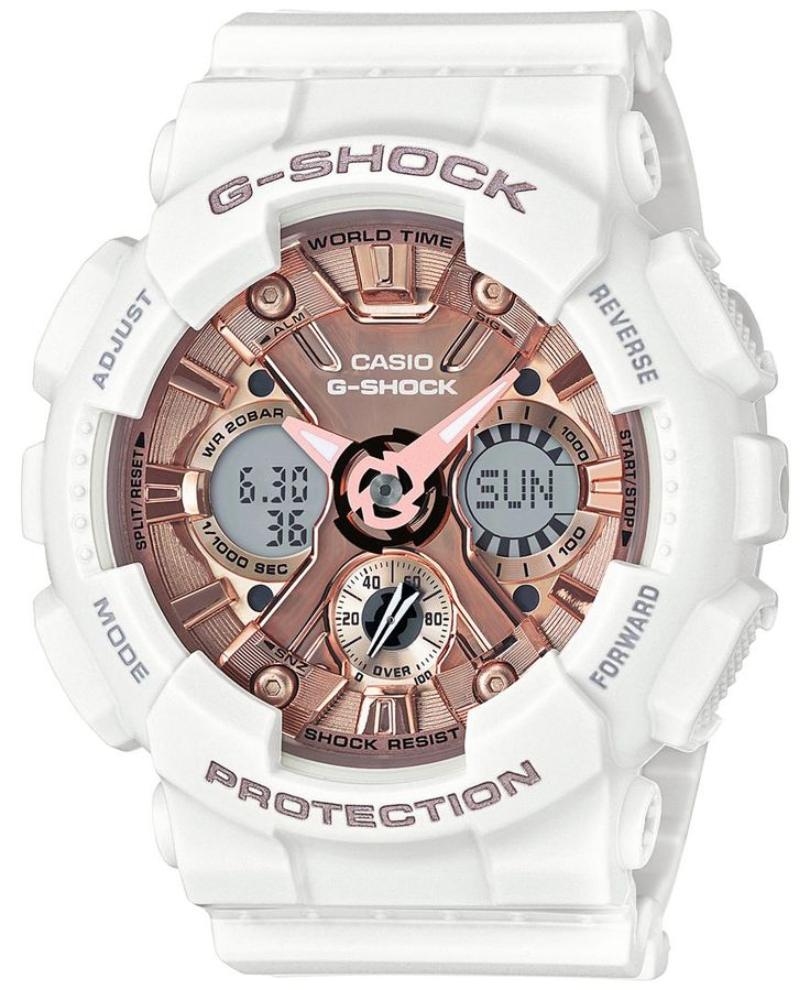G-Shock Women's S Series Analog-Digital White and Rose Gold-Tone Watch 46mm GMAS120MF7A2