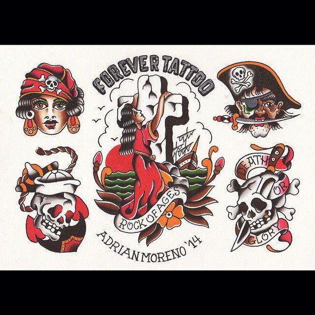 Traditional Flash Skull Tattoos: Flash Clasicc Tattoo Pirata Rock Of Age Skull