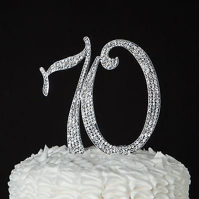 70 Silver Cake Topper - 70th Birthday or Anniversary Rhinestone Metal Number Decoration Get the Best for the Best: With such a momentous occasion, it's worth the splurge. With its sparkles and metal s