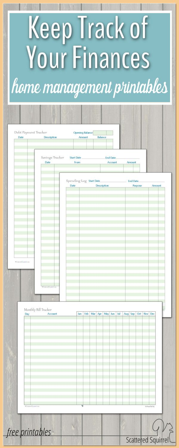 home management printables to help track your finances