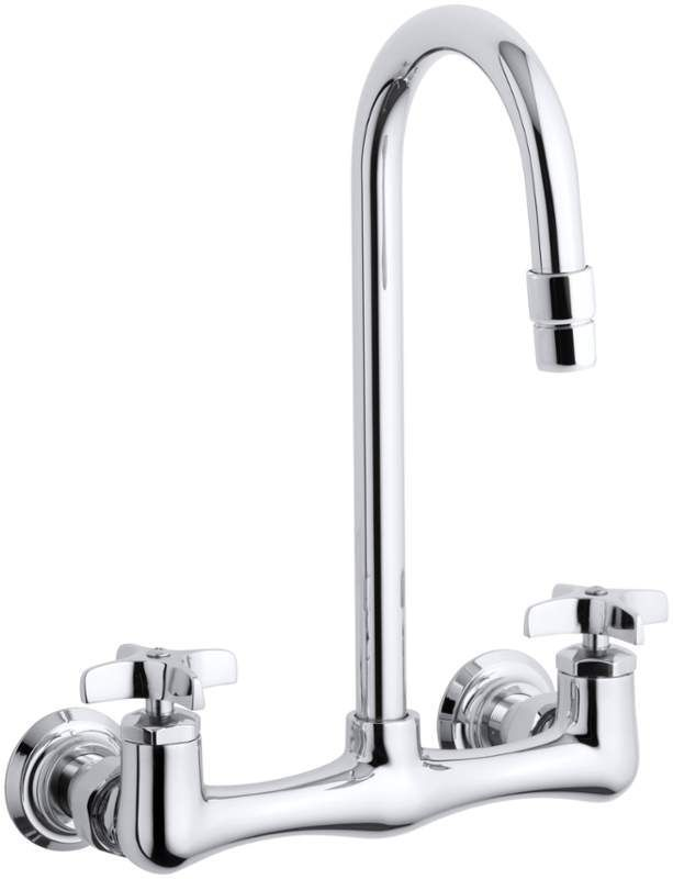 Kohler K-7320-3 Triton utility sink faucet with cross handles Polished Chrome Faucet Laundry Double Handle